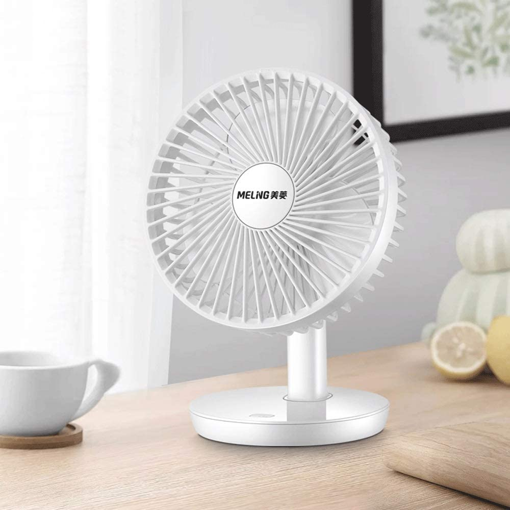Adjustable Head for Home Portable Powerful Airflow Table Fan Sunny Lingt Mini Desk Fan Personal USB Desktop Fan with 3 Blades School Travel 3 Speeds Office Quite Brushless Motor White