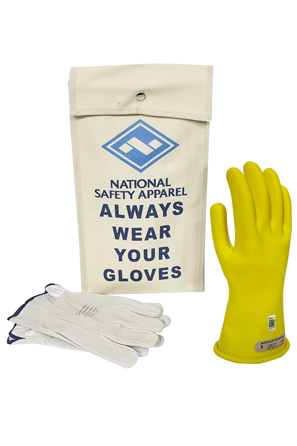 National Safety Apparel Class 00 Yellow Rubber Voltage Insulating Glove Kit with Leather Protectors Use Voltage 500V AC// 750V DC KITGC0010Y Max