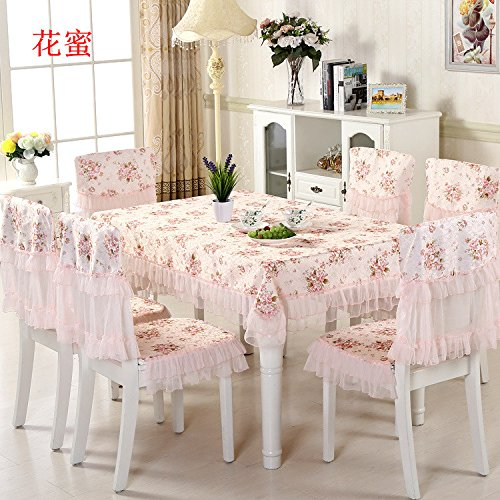 New 150*150cm Flowers Lace Tablecloth Set,13 Pcs/Set Chair Mats Chair Covers and Tablecloths,Tablecloths for weddings Dining  2 hua mi B07SDLW6GM