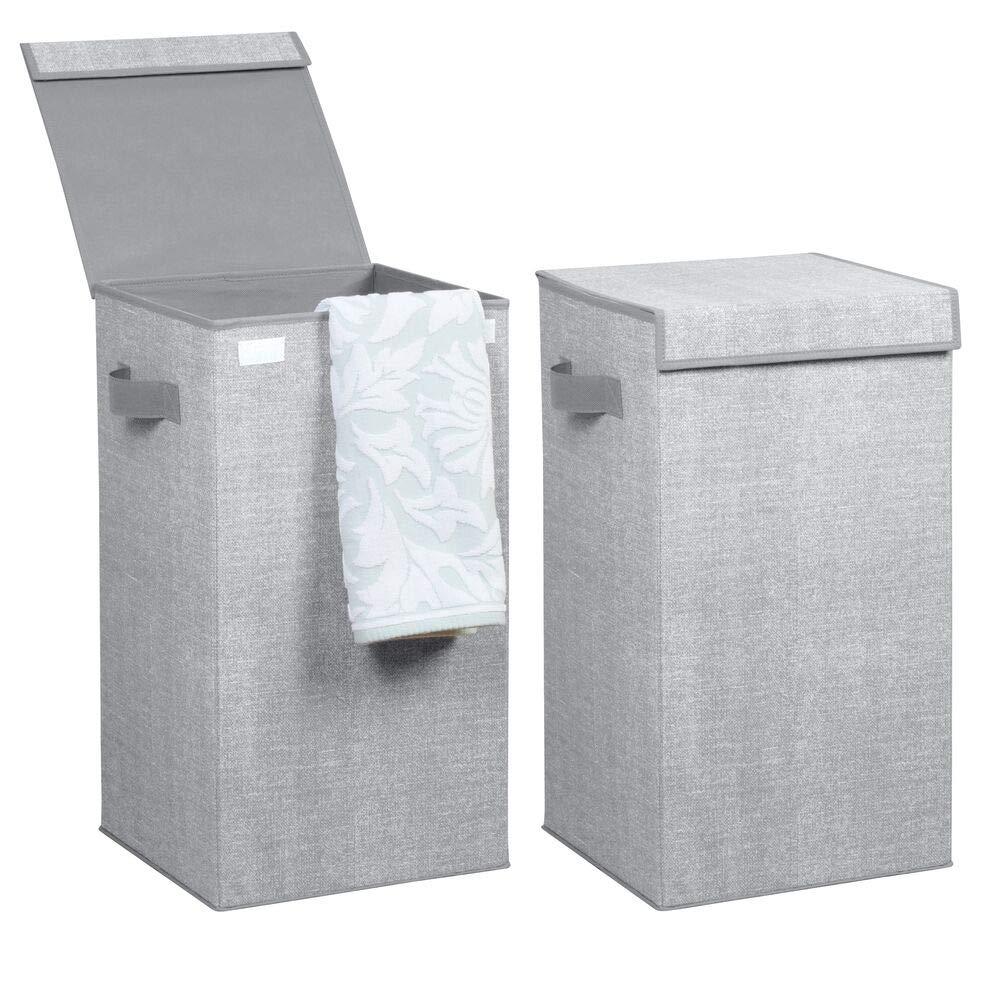 Port/átil Pl/ástico mDesign Cubo de ropa para lavado color gris Ideal como bolsa para guardar ropa durante viajes Cesto plegable para colada con asas Cesta para ropa sucia con tapa