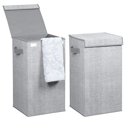mDesign Juego de 2 Cubo de ropa para lavado color gris - Cesto plegable para colada - Cesta para ropa sucia con tapa - Ideal como bolsa para guardar ...