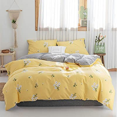 HIGHBUY Girls Full Floral Bedding Sets Queen Yellow 3 Pieces Cotton Flowers Duvet Cover Set with 2 Pillow Shams,Reversible Lightweight Comforter Cover Queen for Teens Adult,Floral Bedding Queen: Home & Kitchen
