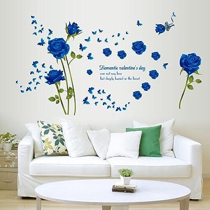 Amazon.com: Amaonm Fashion Romantic Rose Flower Wall Decals Flower ...
