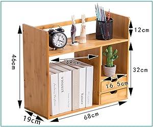 BXZ Desktop Shelf,Adjustable Expandable Bamboo Desk Organizer Shelf for Home Office Bookshelf Accessories Desktop Organizer,H,68x19x46cm(27x7x18inch)
