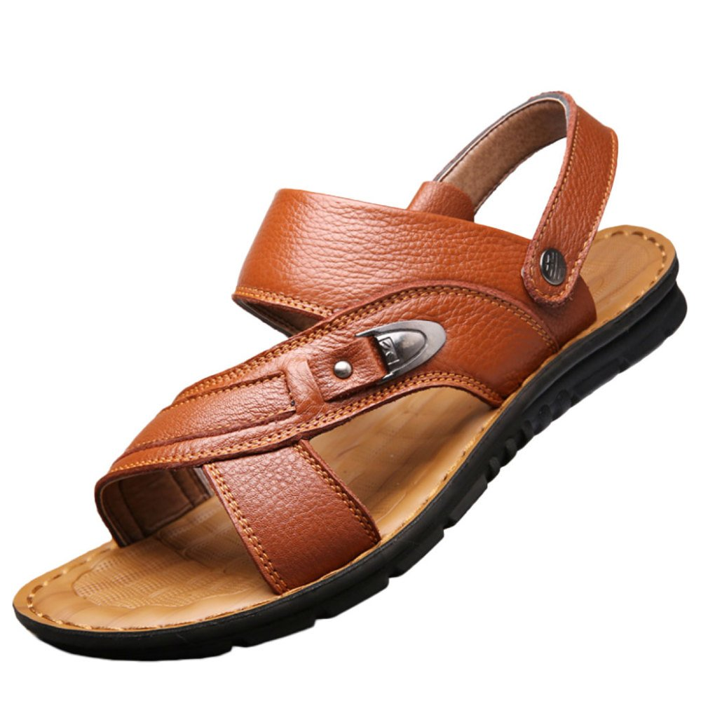 snfgoij Sandalias Para Hombres Deportes Al Aire Libre Ajustables Zapatos Cómodos Para La Playa Calzado Abierto De Cuero Genuino De Verano 43 EU|Khaki