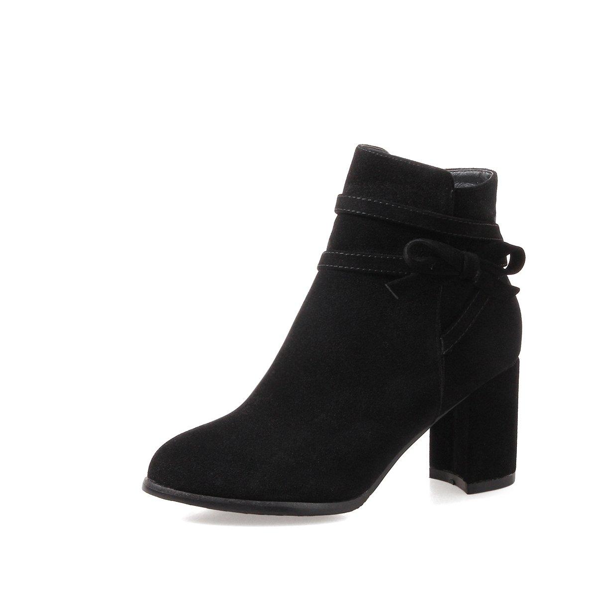 AGECC Damen Damen Winter Winter Hochhackige Stiefel Schuhe koreanische All-Match-Stiefel Martin Stiefel mit dicken Stiefeln und einzelnem Glück für Sie