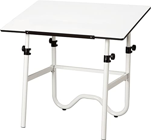 Alvin, Adjustable Foldable Drafting Table, Drawing and Crafting Equipment – Onyx, White White, 24-inches x 36-inches