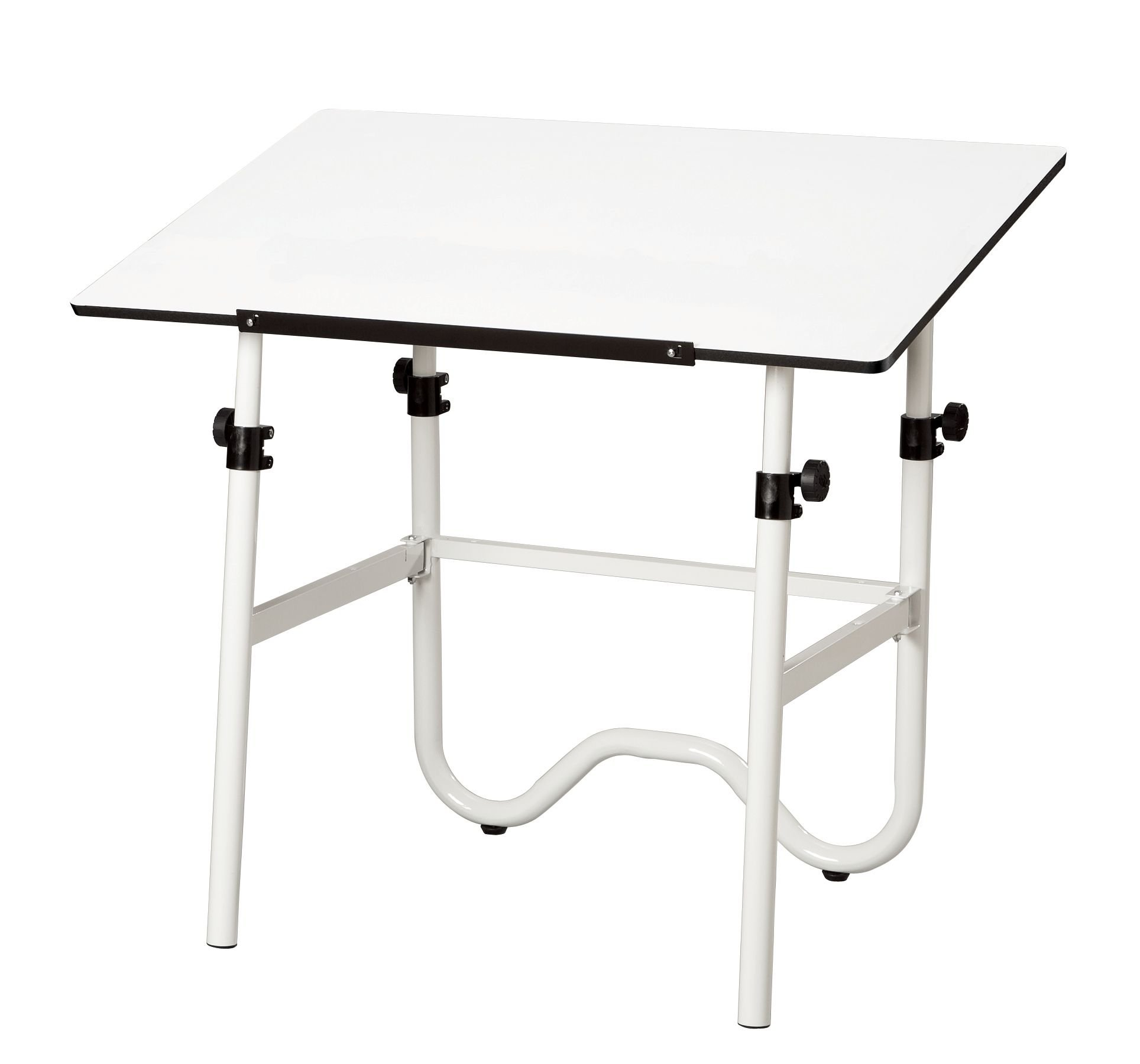 Onyx Drafting Table w Tubular Steel White Base & Adjustable Legs (30 in. L x 42 in. W)
