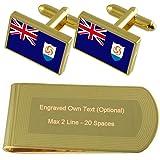 Drapeau Anguilla Gold-tone de manchette argent gravé Collier Cadeau