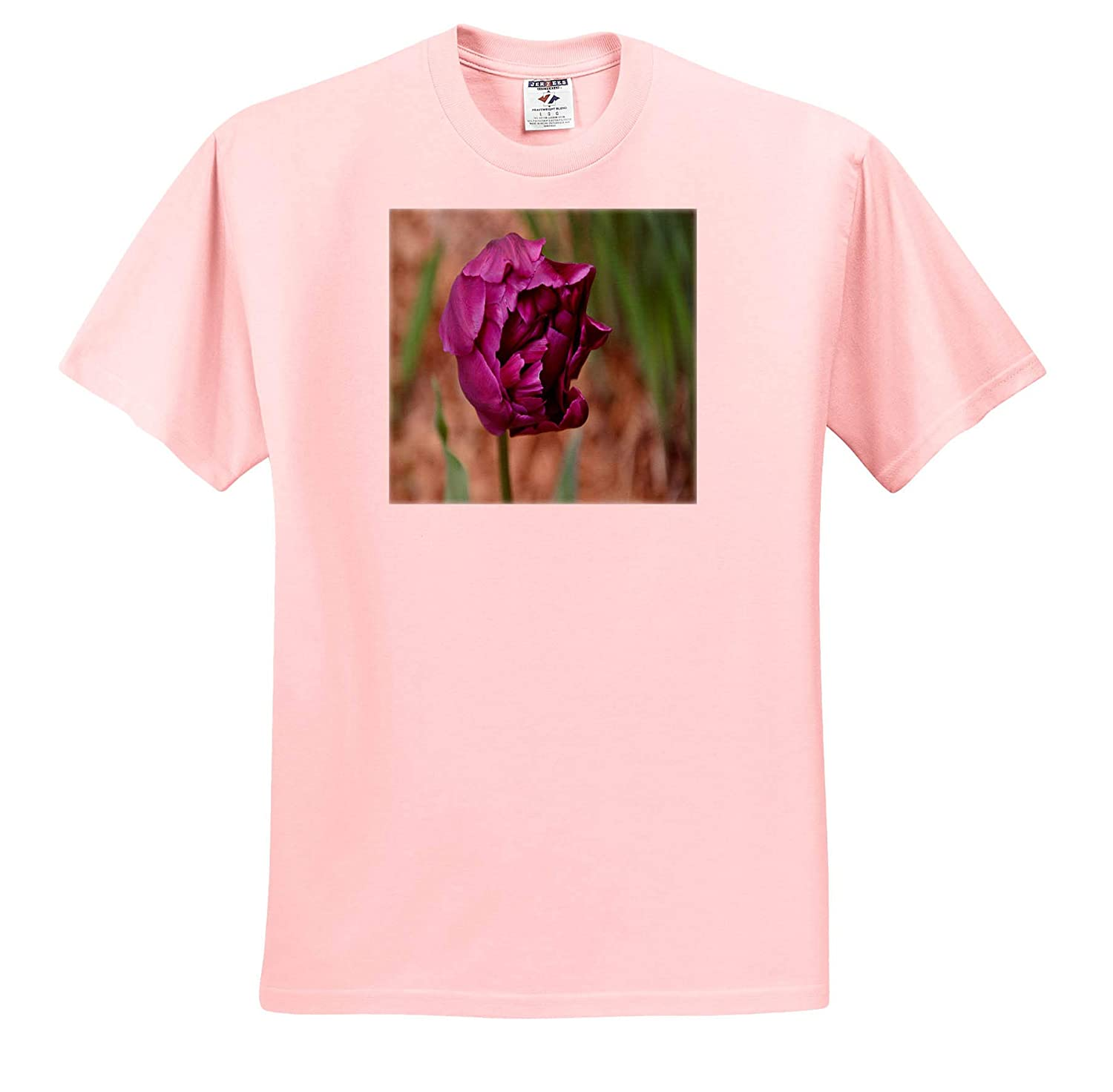 Adult T-Shirt XL 3dRose Dreamscapes by Leslie Flowers ts/_314247 Double Purple Tulip Blooming
