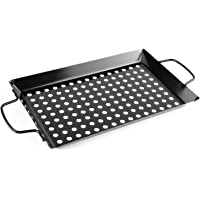 Waykea Non-stick Vegetable Grill Basket with Handle, 12-inch Rectangle Pan BBQ Accessory for Grilling Veggie, Fish, Shrimp, Meat, Camping Cookware