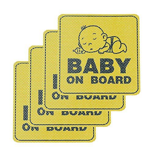 Baby on Board Car Sticker Sign 4 PCS - Universal Waterproof Window Rear Bumper Vinyl Toddler Auto Decals