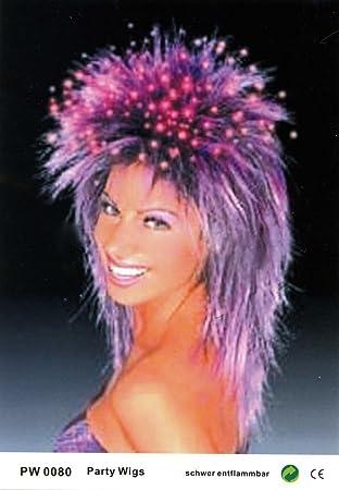 Pelucas mujeres largo púrpura mullet carnaval carnaval Partido 80s