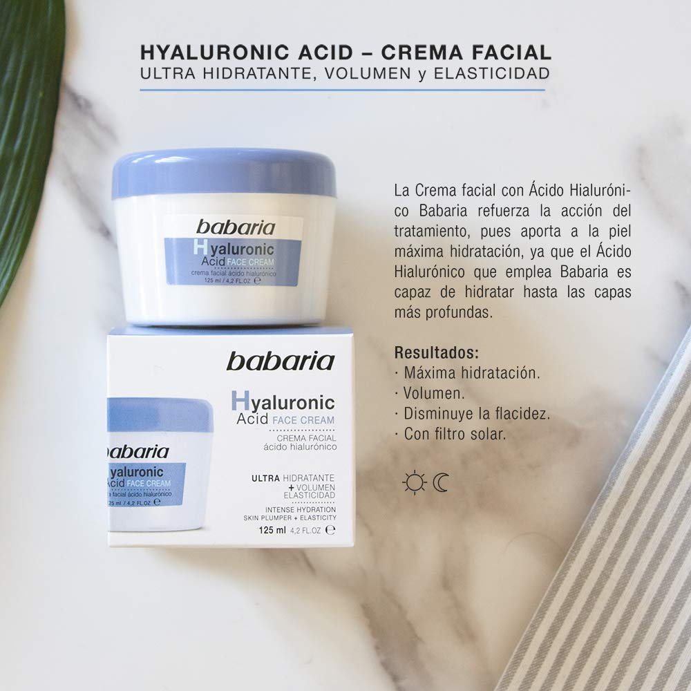 Babaria Hyaluronic Acid Crema Facial Ultrahidratante, 125 ml, Pack ...