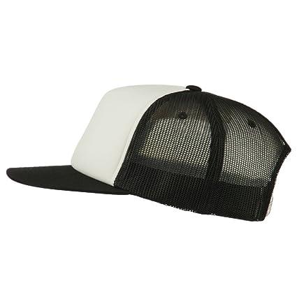 bb2dc6930 Sonette/Yupoong Foam Front Mesh Trucker Snapback Cap - Black White Black  OSFM at Amazon Men's Clothing store: