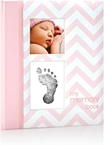 "Pearhead Baby Memory Book with Ink Pad, Chevron Pink,3"" x 3"""