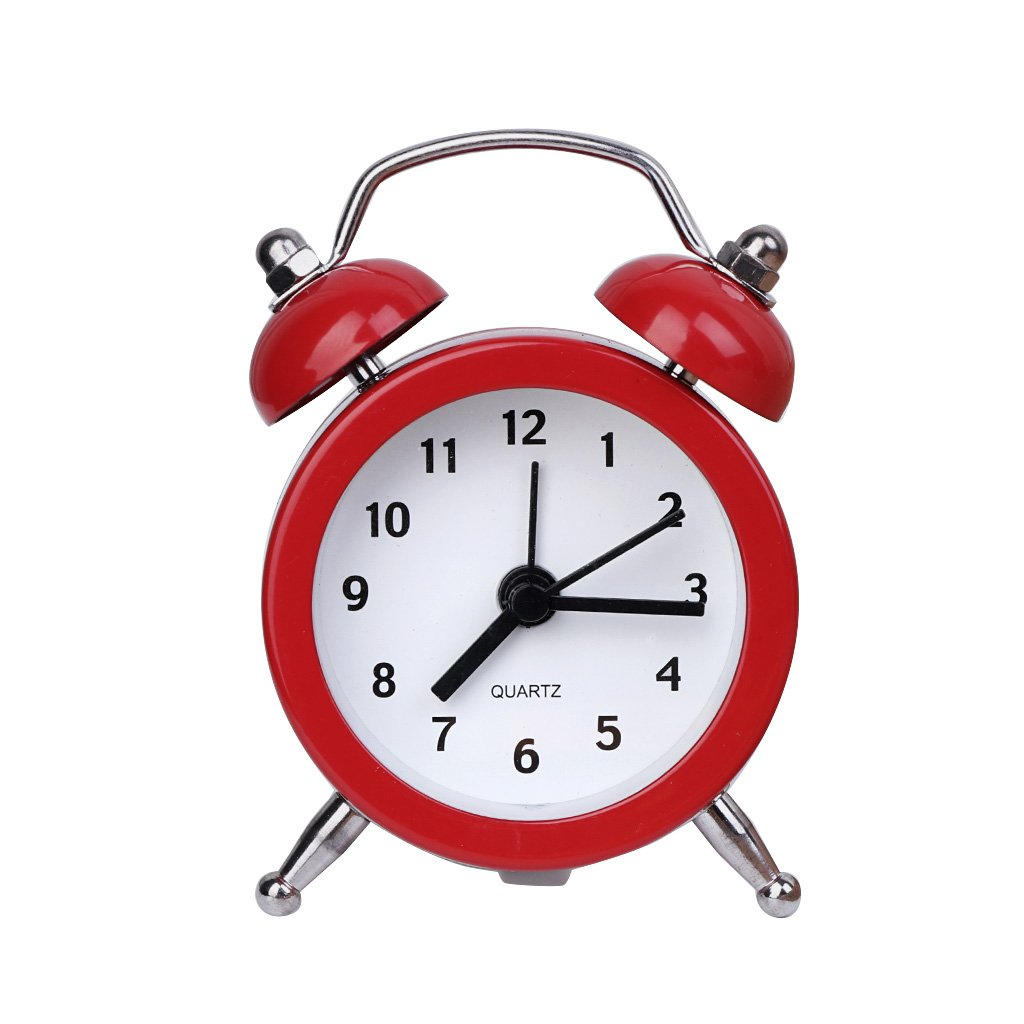 Misright Portable Cute Mini Round Battery Alarm Clock Desktop Table Bedside Clocks Decor (Red)