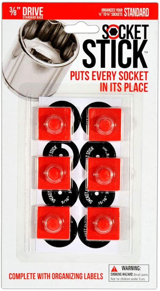Neodymium Individual Organizers hold Standard SAE Sockets using Rare Earth Magnets which each hold ONE Socket to any Steel Surface SocketStick 6-pack Magnetic 1//2 Drive Socket Holder