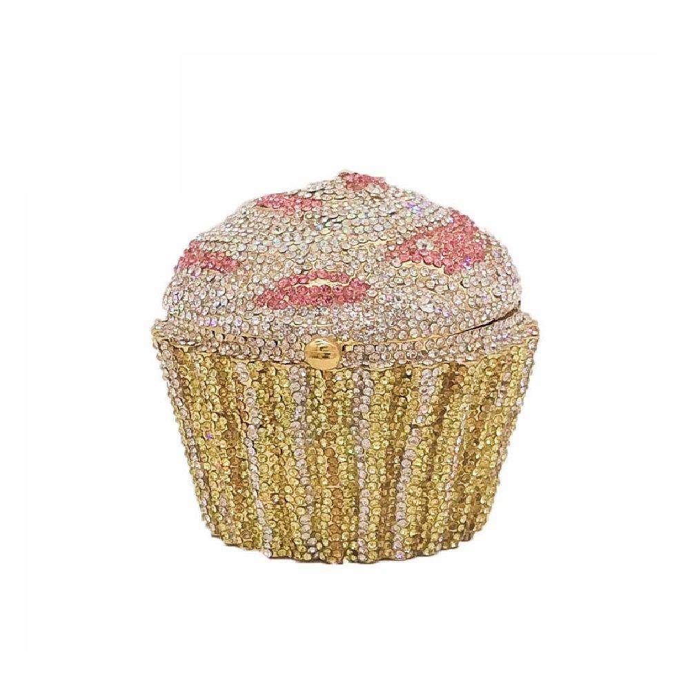 Cupcake Crystal Clutch Evening Bags Wedding Party Bridal Diamond Minaudiere Handbag Clutches Purse (3)