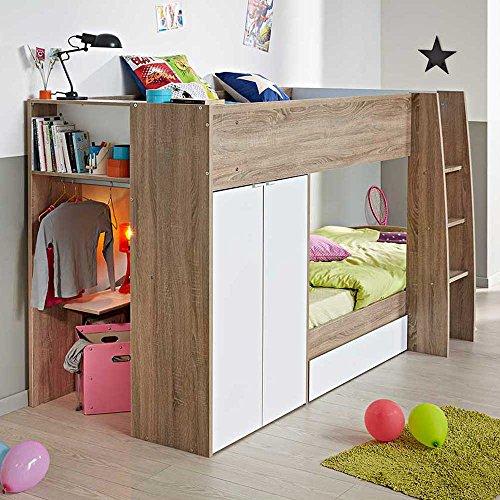 kinderhochbett mit integriertem schrank 90x200 pharao24. Black Bedroom Furniture Sets. Home Design Ideas