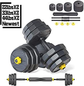 IRUI Adjustable Fitness Dumbbells Set, Free Weights Dumbbells with Connecting Rod Used As Barbell for Gym Work Out Home Training Suitable for Men and Women 2 Pieces/Set