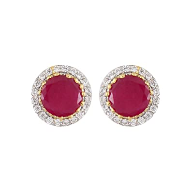 73a1f7fa4 Buy Affinity Red Stone Stud Earring Online at Low Prices in India | Amazon  Jewellery Store - Amazon.in