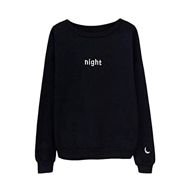 Mistere Letters Day&Night Embroidered Sweatshirt Women Long Sleeve Hoodie Loose Sweatshirts WhiteXX-Large