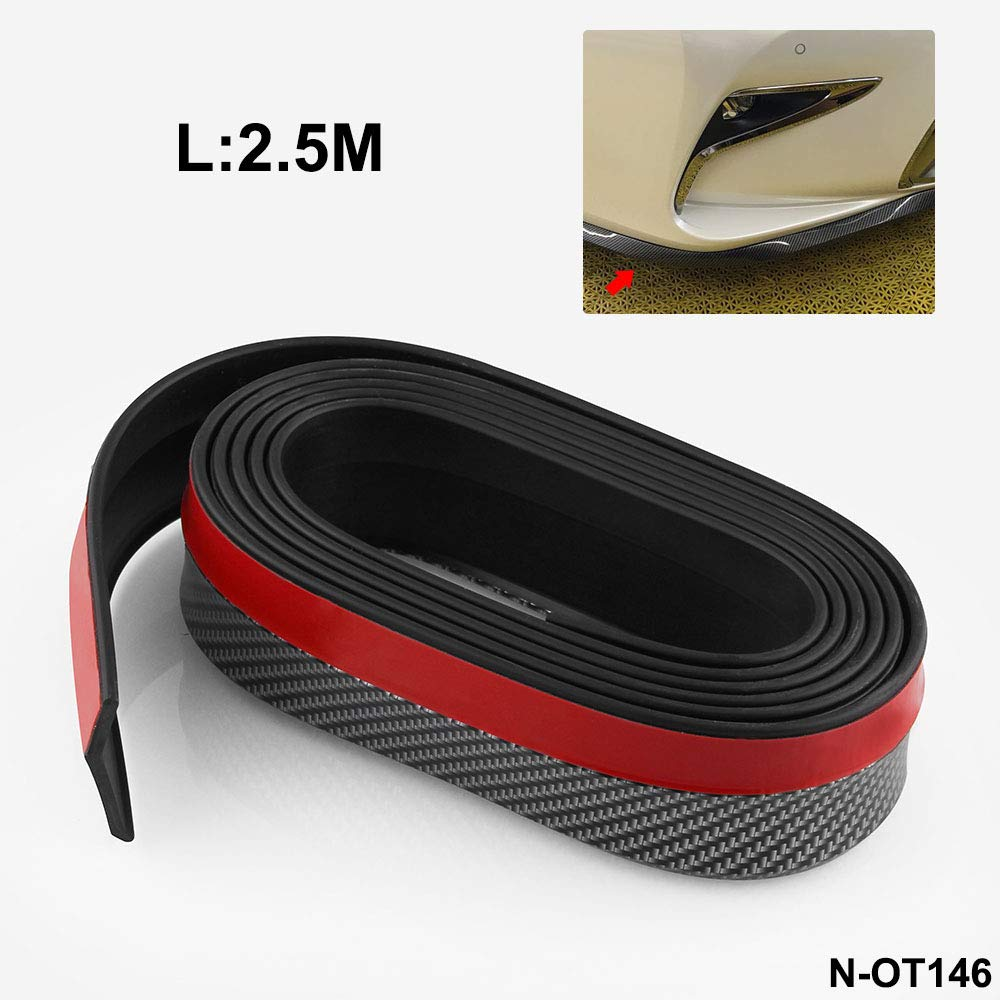 Carbon Fiber Car Moulding Trim Protector Universal Rubbing Bumper Strip 2.5M 48MM
