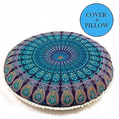 Bohemian Décor Floor Cushion - INSERT INCLUDED - 30  Round Meditation Pillow Pouf - 100% Hand Printed Organic Cotton by Mandala Life ART(Blue)