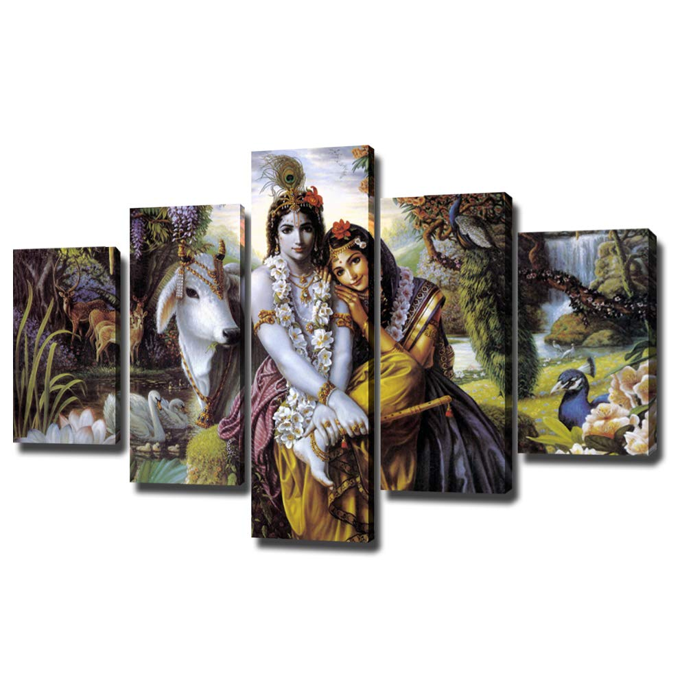 "DXYJUYI Premium Quality Canvas Printed Wall Art Poster 5 Pieces / 5 Pannel Wall Decor Krishna & Radha Painting, Home Decor Pictures - Stretched (60"" W x 32"" H, A)"