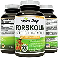 Pure Forskolin Extract, Highest Pharmaceutical Grade ? Recommended Dosages ? 250mg at 20 Percent Standardization - Best Formula for Weight Loss ? Premium Potency & Quality for Women & Men ? Fully Guaranteed By Natures Design 60 capsules