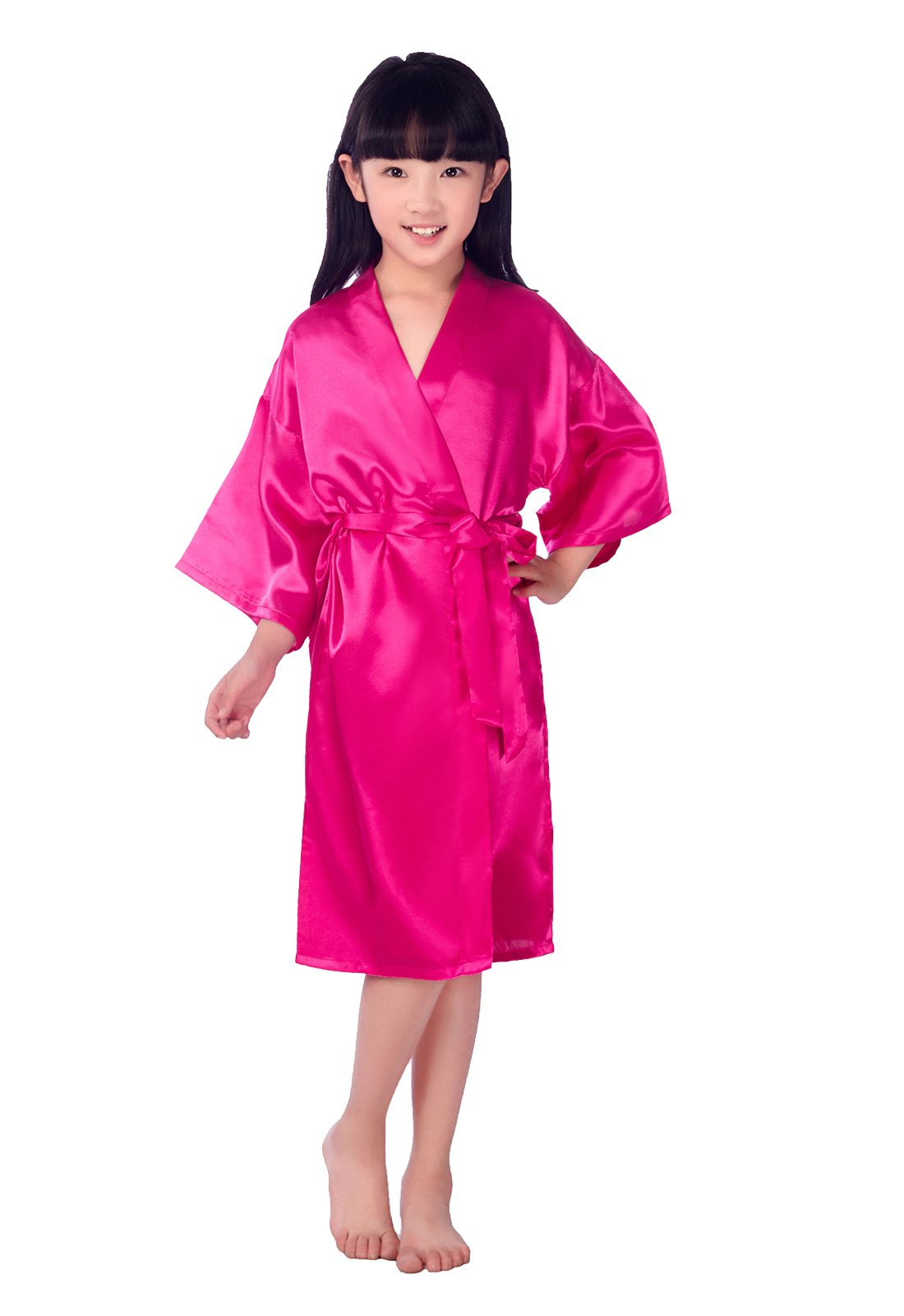 EPLAZA Girls Plain Satin Robe Children Dressing Gown Sleepwear Wedding Bridesmaid Bathrobe (10, Rose red)