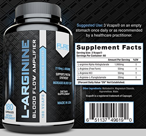 L Arginine PURE A 2110mg (180 capsules) L Arginine Nitric Oxide Booster, Build Muscle Increase Strength and Boost Sex Drive Best Purest Arginine + Top Rated Most Effective Dose MADE IN USA