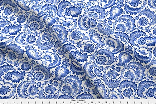 19th Century Fabrics - Spoonflower Damask Fabric - Toile Floral Regency Blue and White Willow Ware 19Th Century - by Peacoquettedesigns Printed on Fleece Fabric by The Yard