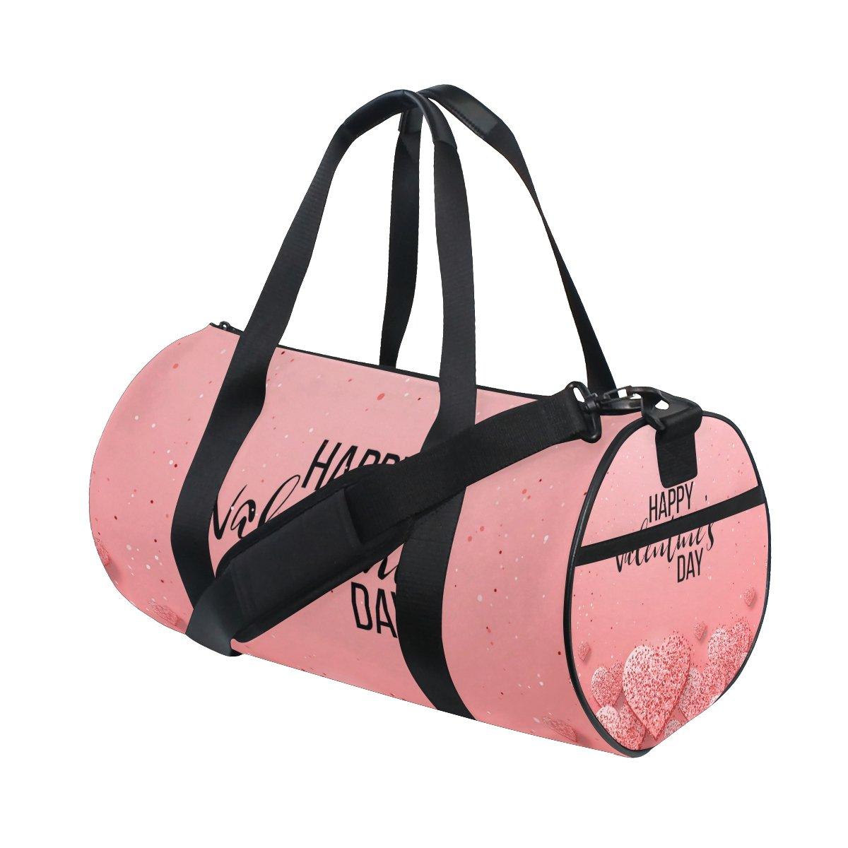 U LIFE Happy Valentines Day Floral Flowers Love Heart Sports Gym Shoulder Handy Duffel Bags for Women Men Kids Boys Girls