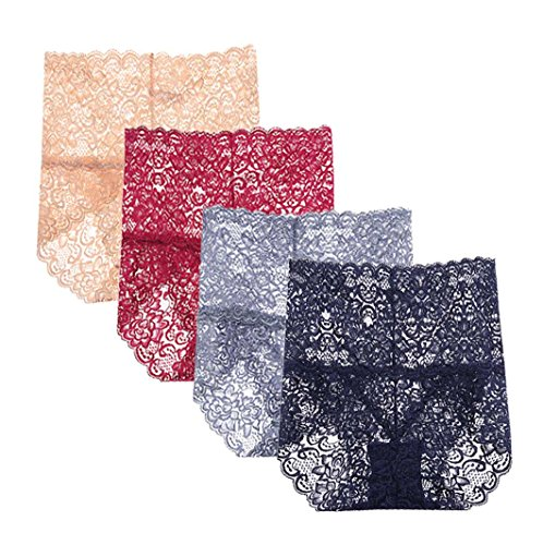 (Femaroly Women Sexy Lace Underwear High Waist Tummy Control Panties Briefs(Pack of 4) Blue/Purple/Red/Skin US XS=Hip:29