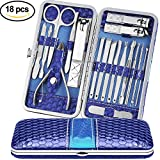 Teamkio Manicure Pedicure Set Nail Clippers Travel Hygiene Stainless Steel Professional Nail Cutter Care Set Scissor Tweezer Knife Ear Pick Utility Tools Grooming Kits with Leather Case (18pcs, Blue)
