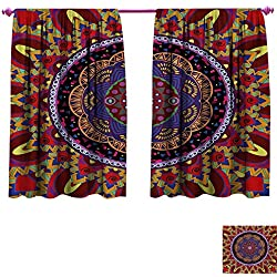 cobeDecor Mandala Patterned Drape for Glass Door Vintage Style Wedding Invitation Card with Mandala Motif Flower Illustration Room Darkening Wide Curtains W120 x L72 Maroon and Red