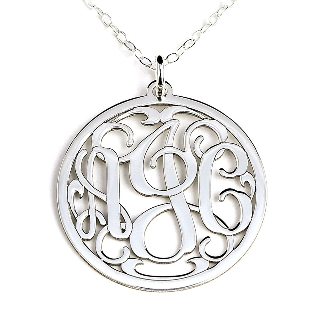 Personalized Round Monogram Sterling Silver Pendant Necklace Customized with Initials of Your...