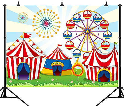 DePhoto 9X6FT(270X180CM) Cartoon Fun Circus Carnival Party Seamless Vinyl Photography Backdrop Photo Background Studio Prop PGT133B -