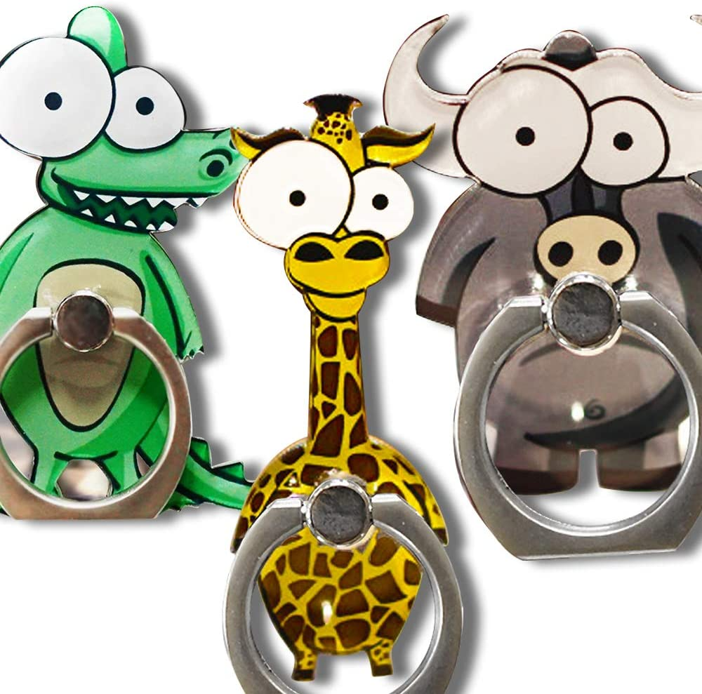 Cell Phone Finger Ring Holder Cute Animal Smartphone Stand 360 Swivel for iPhone, Ipad, Samsung HTC Nokia Smartphones Tablet,by UnderReef (3 Packs B)