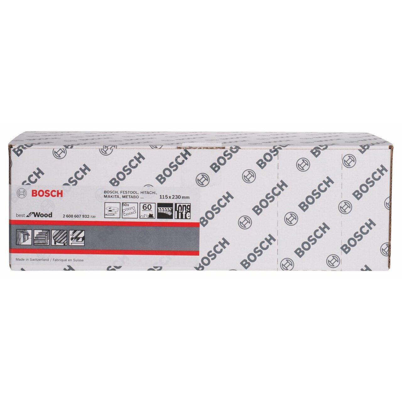 115 x 230 mm, 60 Set de 50 papeles de lija Bosch 2608607932