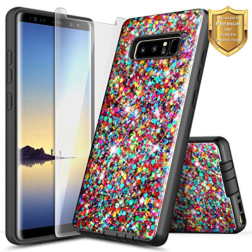 NageBee [Glitter Rainbow] Case Compatible with Samsung Galaxy Note 8 w/[Screen Protector HD Clear] [Hybrid Protective] Heavy Duty Sparkle Luxury Shiny Bling Girls Cute -Rainbow