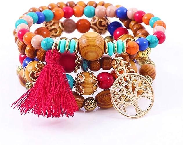 Gemstone Bead Elastic Bracelets for Women Boho Bracelet Beaded Bracelet Men Brown Bead Bracelet Minimalist Bracelet Bohemian Bracelet Hippie