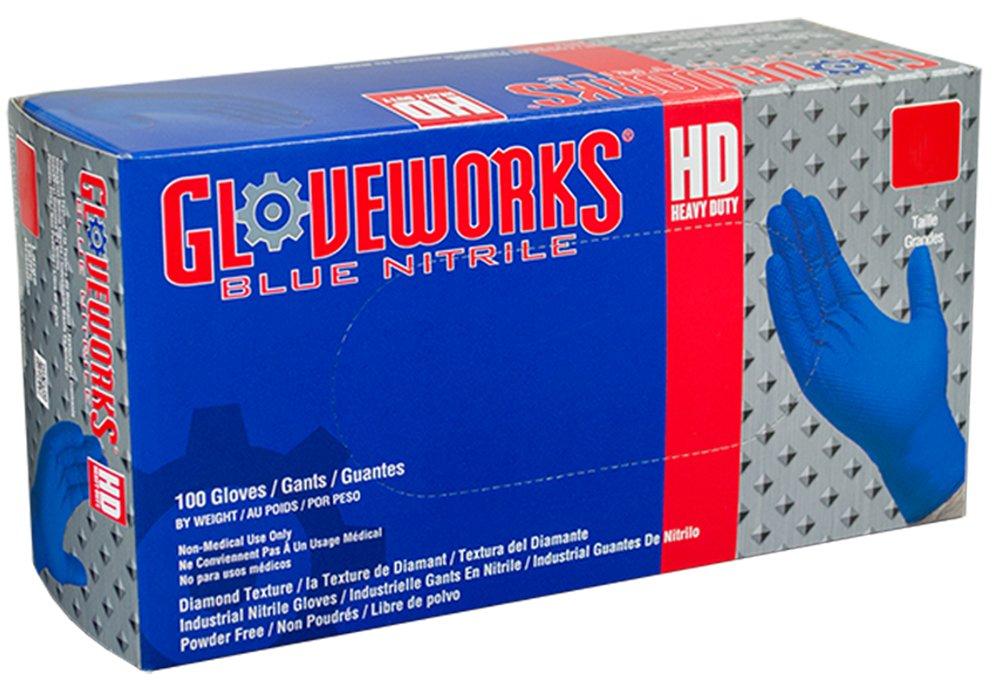 AMMEX - GWRBN48100 - Nitrile Gloves - Gloveworks - HD, Disposable, Powder Free, 6 mil, XLarge, Royal Blue (Case of 1000)