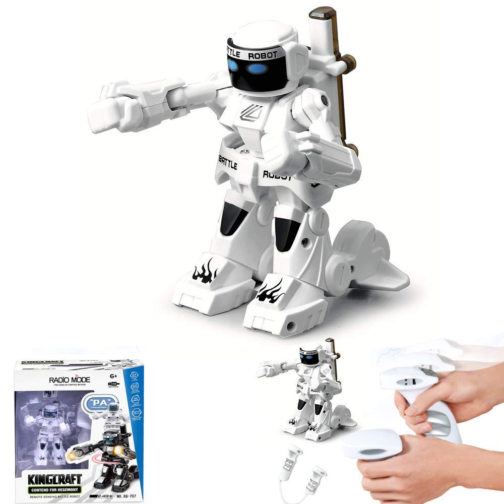 Dulcii RC Battle Boxing Robot/Toys, Remote Control 2.4G Humanoid Fighting Robot, Two Control Joysticks Real Boxing Fight Experience (Black & White) by Dulcii (Image #3)