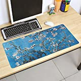Extended Gaming Mouse Pad with Oil Painting Design, Computer Desk Mat with Non-Slip Rubber Base Stitched Edges Large