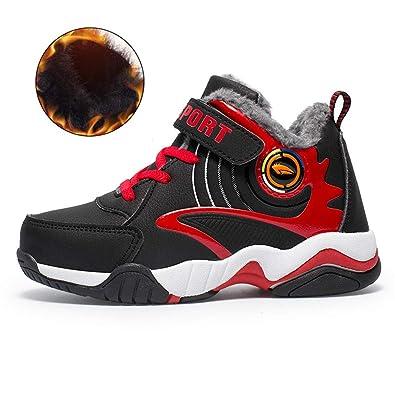 f07bf1bffa9 Chicos de Invierno Zapatos de Baloncesto con Velcro para niños Zapatillas  de Deporte de Felpa cálidas Moda Zapatos Impermeables de Cuero Negro y  Rojo  ...