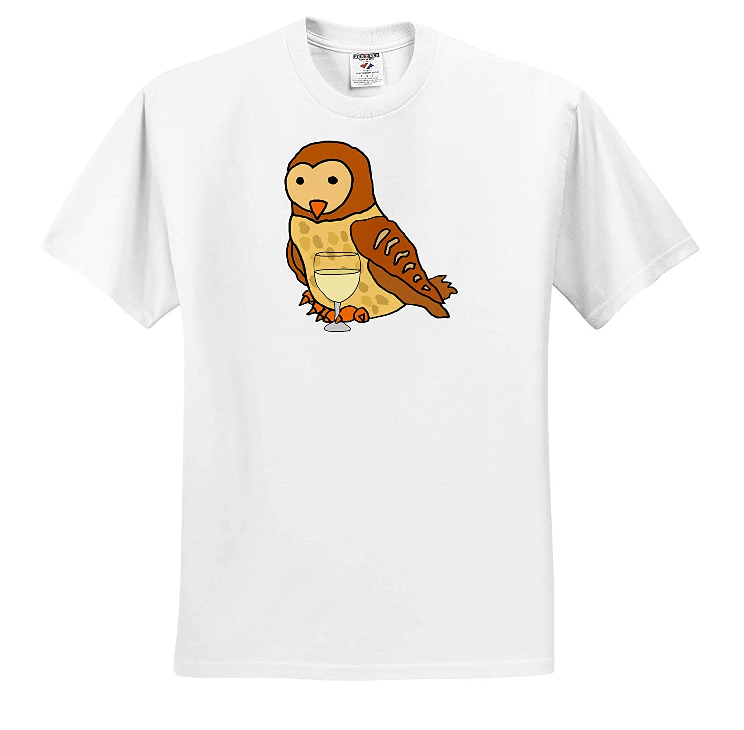 T-Shirts Cute Funny Unique Barn Owl Drinking Wine Cartoon 3dRose All Smiles Art Birds