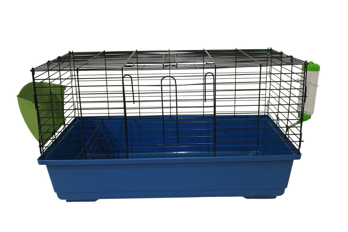100cm Rabbit Guinea Pig Indoor Cage Hutch Bed Metal Pet Small Animal - Includes Hay Rack & Red Water Bottle Marko